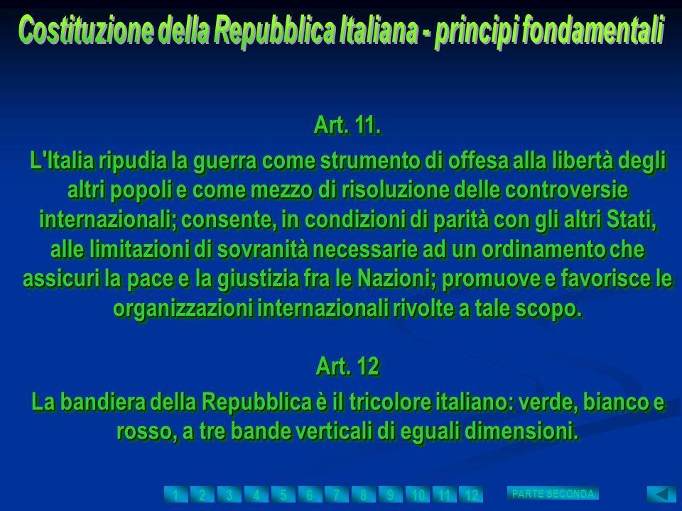 Art. 11. L'Italia ripudia la guerra come strumento di offesa alla libertà degli altri popoli e come mezzo di risoluzione delle controversie internazio