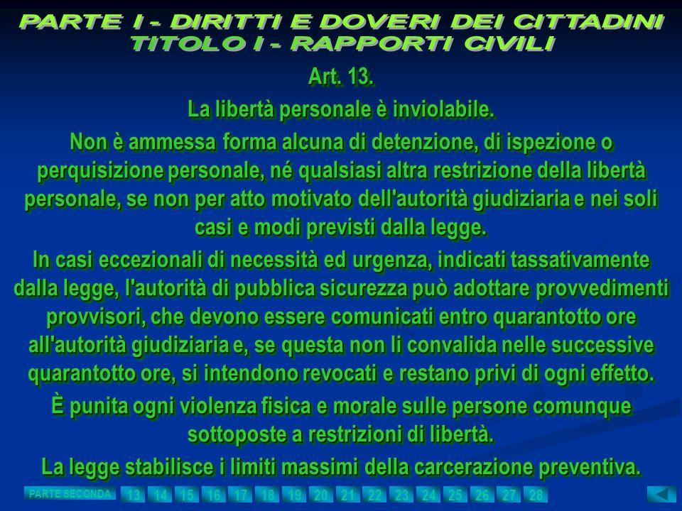 Art. 13. La libertà personale è inviolabile. Non è ammessa forma alcuna di detenzione, di ispezione o perquisizione personale, né qualsiasi altra rest