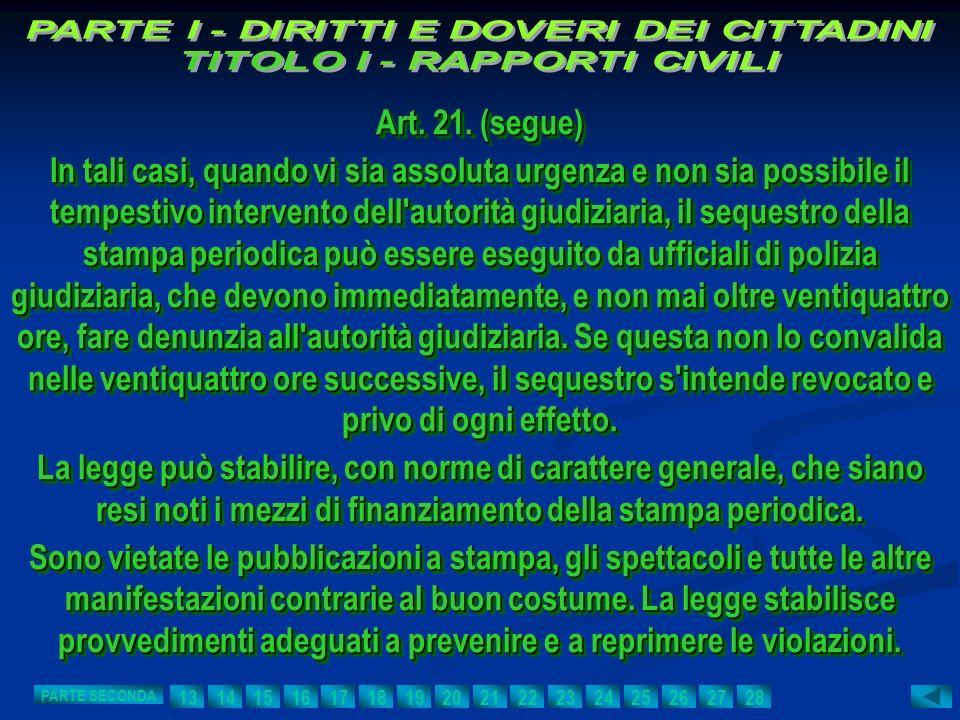 Art. 21. (segue) In tali casi, quando vi sia assoluta urgenza e non sia possibile il tempestivo intervento dell'autorità giudiziaria, il sequestro del
