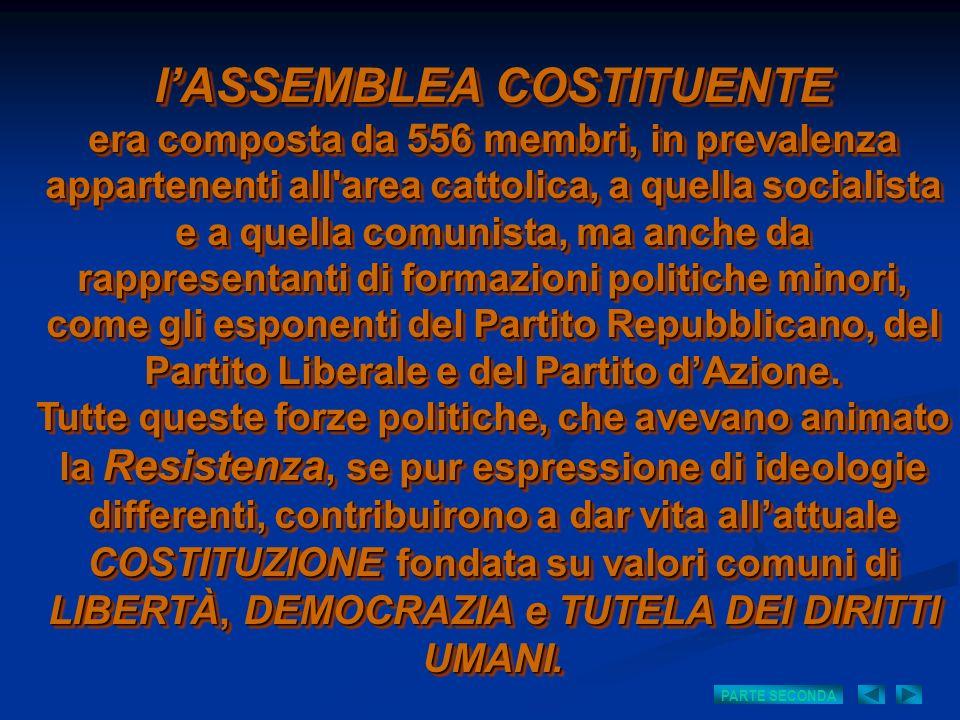 lASSEMBLEA COSTITUENTE era composta da 556 membri, in prevalenza appartenenti all'area cattolica, a quella socialista e a quella comunista, ma anche d