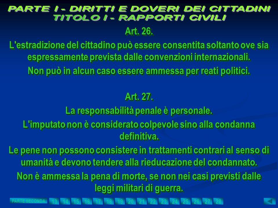 Art. 26. L'estradizione del cittadino può essere consentita soltanto ove sia espressamente prevista dalle convenzioni internazionali. Non può in alcun