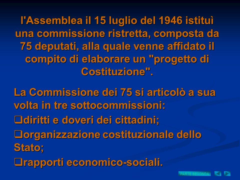 l'Assemblea il 15 luglio del 1946 istituì una commissione ristretta, composta da 75 deputati, alla quale venne affidato il compito di elaborare un