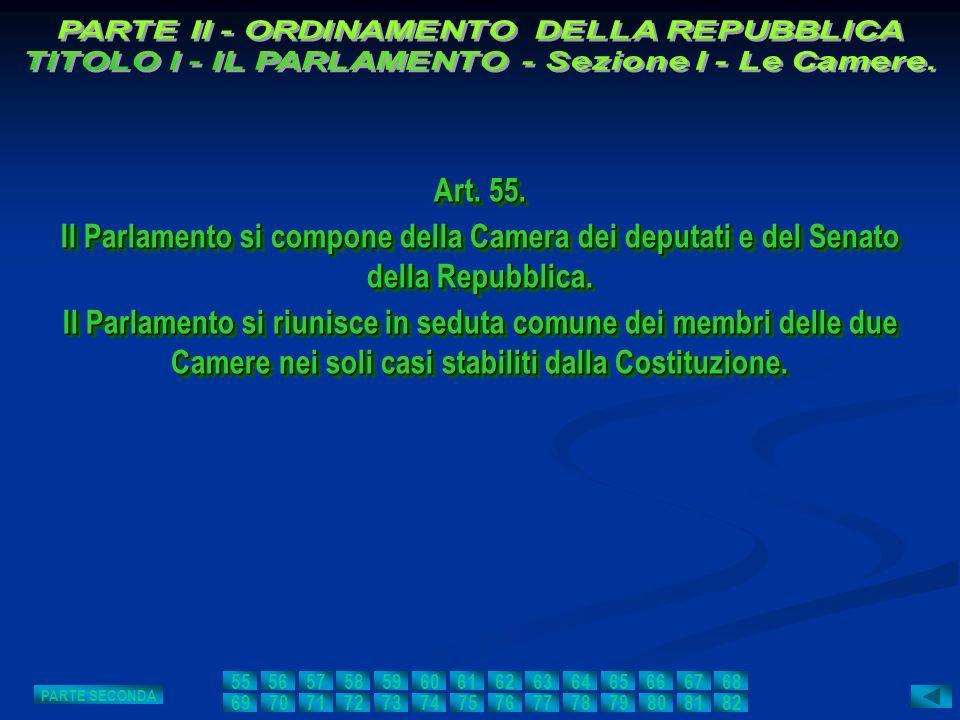 Art. 55. Il Parlamento si compone della Camera dei deputati e del Senato della Repubblica. Il Parlamento si riunisce in seduta comune dei membri delle