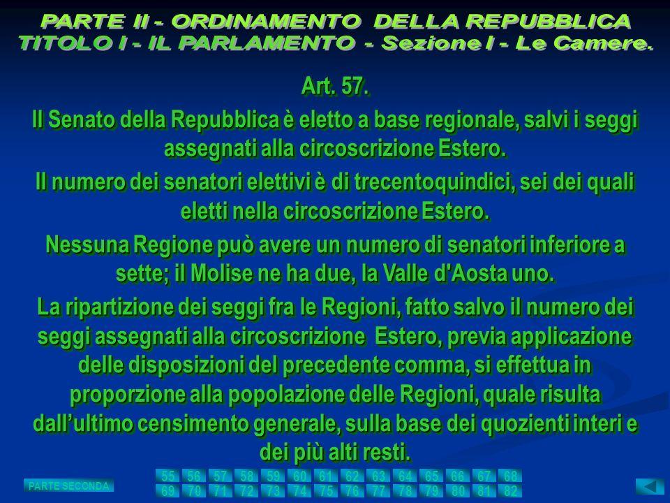 Art. 57. Il Senato della Repubblica è eletto a base regionale, salvi i seggi assegnati alla circoscrizione Estero. Il numero dei senatori elettivi è d