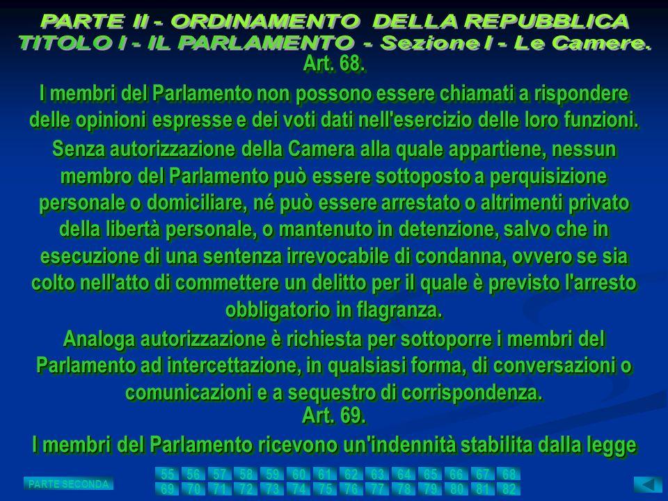 Art. 68. I membri del Parlamento non possono essere chiamati a rispondere delle opinioni espresse e dei voti dati nell'esercizio delle loro funzioni.