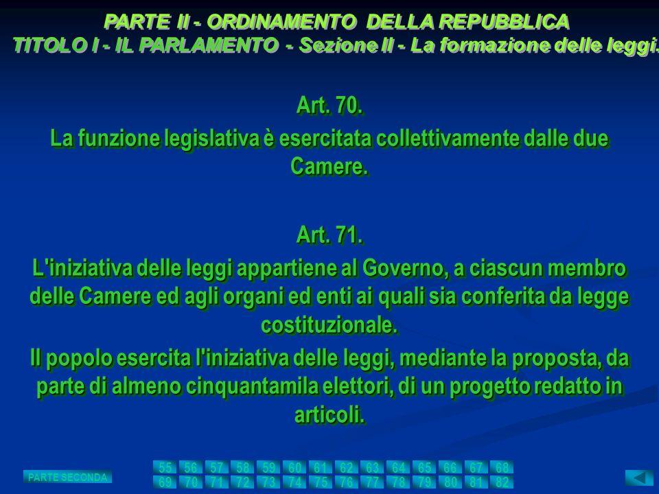 Art. 70. La funzione legislativa è esercitata collettivamente dalle due Camere. Art. 70. La funzione legislativa è esercitata collettivamente dalle du