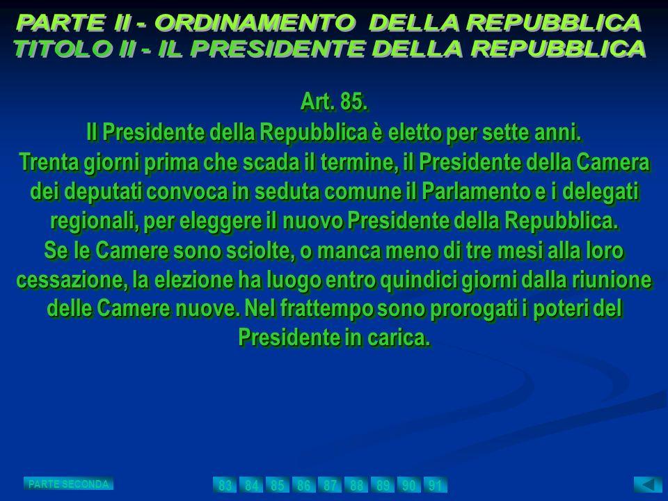Art. 85. Il Presidente della Repubblica è eletto per sette anni. Trenta giorni prima che scada il termine, il Presidente della Camera dei deputati con