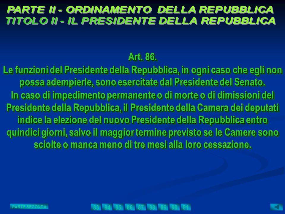 Art. 86. Le funzioni del Presidente della Repubblica, in ogni caso che egli non possa adempierle, sono esercitate dal Presidente del Senato. In caso d