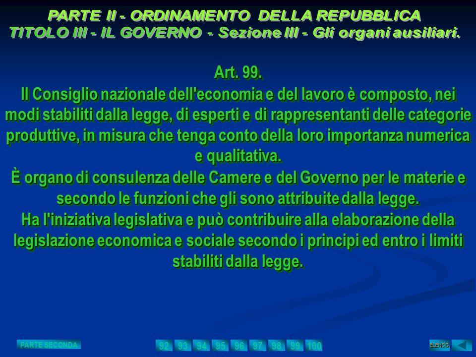 Art. 99. Il Consiglio nazionale dell'economia e del lavoro è composto, nei modi stabiliti dalla legge, di esperti e di rappresentanti delle categorie
