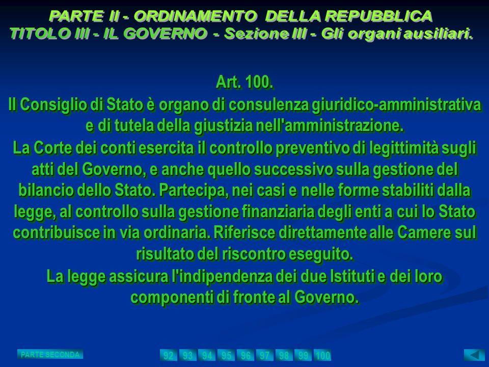 Art. 100. Il Consiglio di Stato è organo di consulenza giuridico-amministrativa e di tutela della giustizia nell'amministrazione. La Corte dei conti e