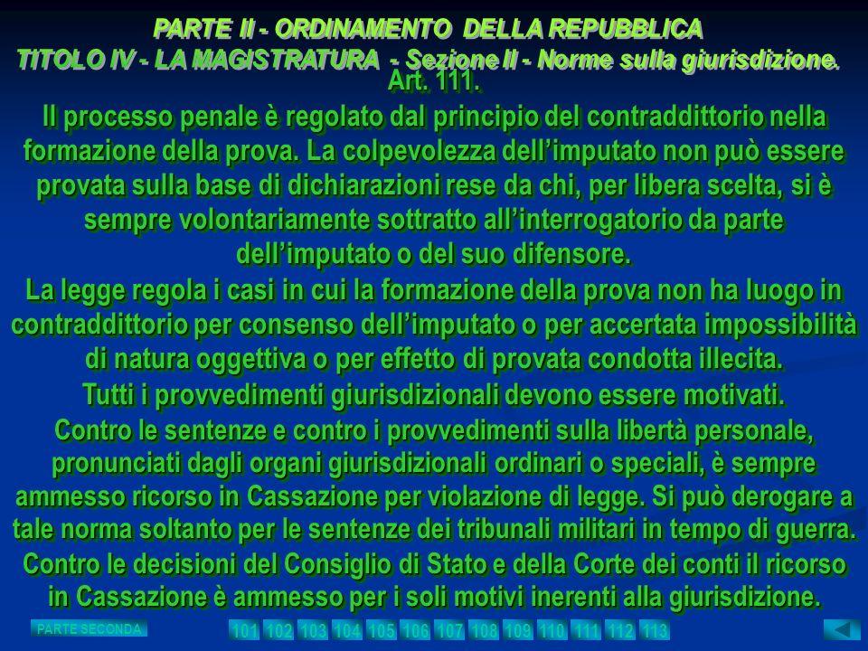 Art. 111. Il processo penale è regolato dal principio del contraddittorio nella formazione della prova. La colpevolezza dellimputato non può essere pr