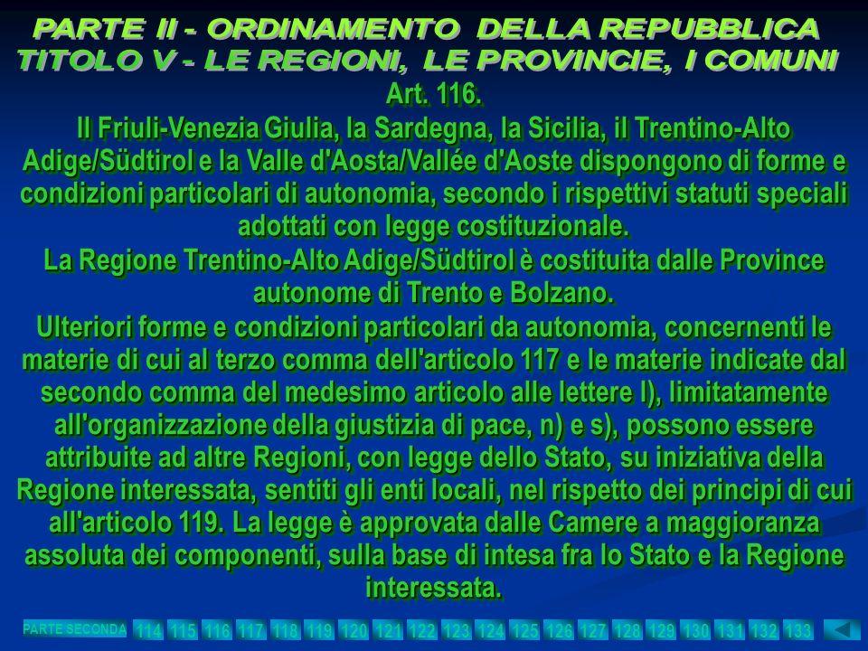 Art. 116. Il Friuli-Venezia Giulia, la Sardegna, la Sicilia, il Trentino-Alto Adige/Südtirol e la Valle d'Aosta/Vallée d'Aoste dispongono di forme e c