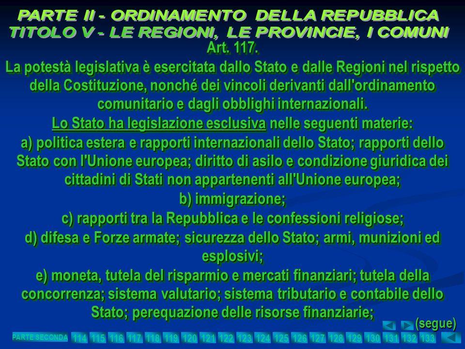 Art. 117. La potestà legislativa è esercitata dallo Stato e dalle Regioni nel rispetto della Costituzione, nonché dei vincoli derivanti dall'ordinamen