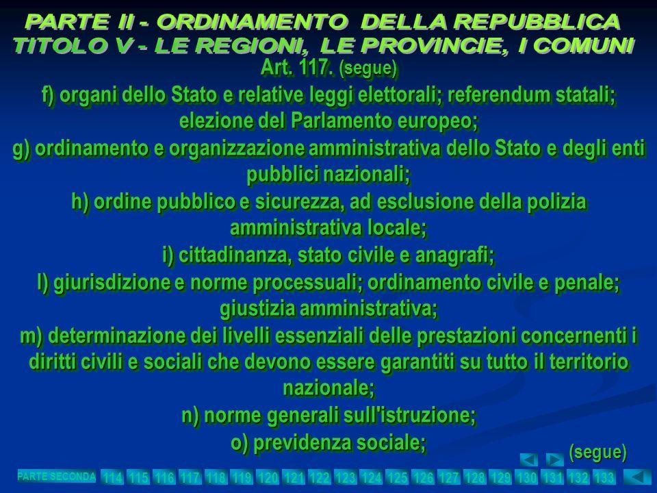 Art. 117. (segue) f) organi dello Stato e relative leggi elettorali; referendum statali; elezione del Parlamento europeo; g) ordinamento e organizzazi