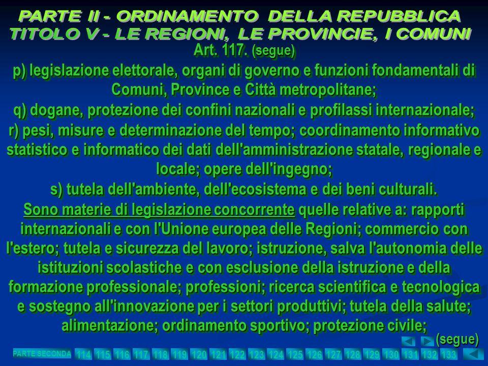 Art. 117. (segue) p) legislazione elettorale, organi di governo e funzioni fondamentali di Comuni, Province e Città metropolitane; q) dogane, protezio