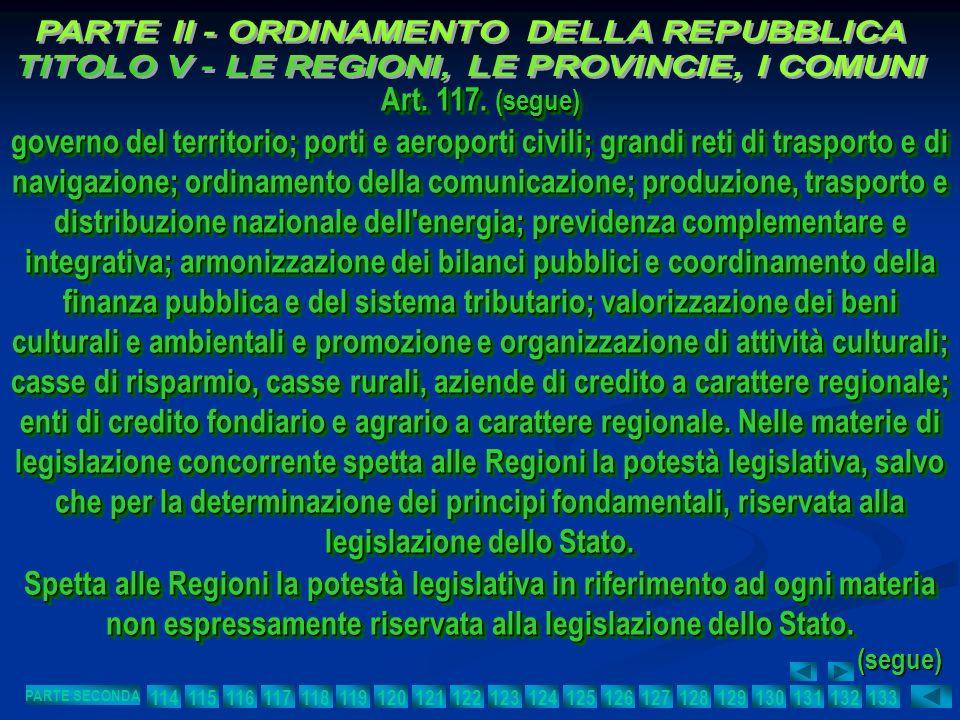 Art. 117. (segue) governo del territorio; porti e aeroporti civili; grandi reti di trasporto e di navigazione; ordinamento della comunicazione; produz
