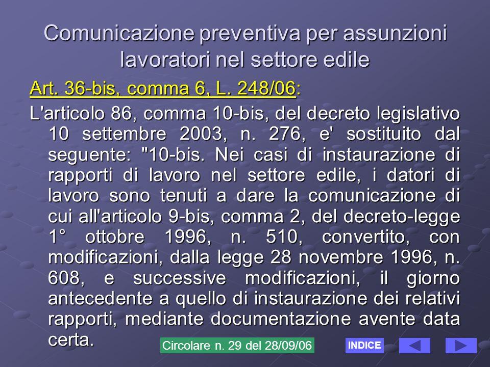 Comunicazione preventiva per assunzioni lavoratori nel settore edile Art.