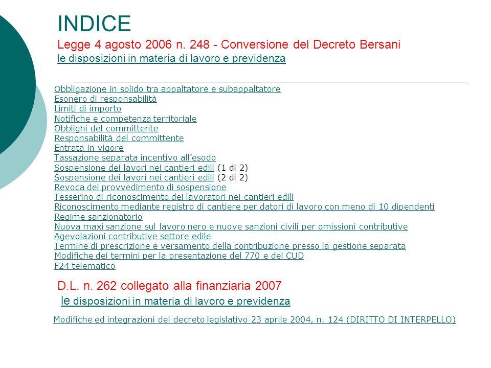 INDICE Legge 4 agosto 2006 n.