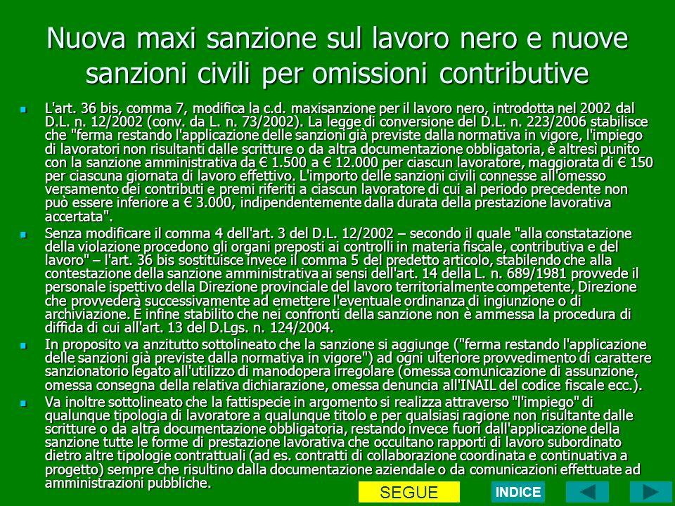 Nuova maxi sanzione sul lavoro nero e nuove sanzioni civili per omissioni contributive L art.