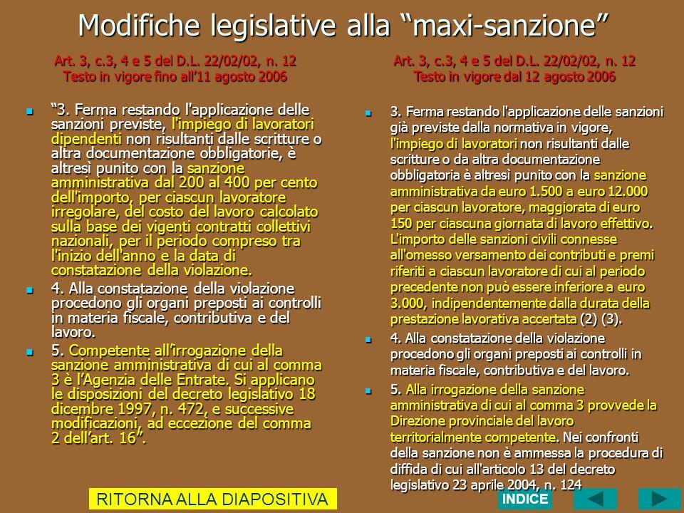 Modifiche legislative alla maxi-sanzione Art. 3, c.3, 4 e 5 del D.L.