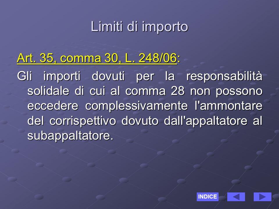 Limiti di importo Art. 35, comma 30, L.