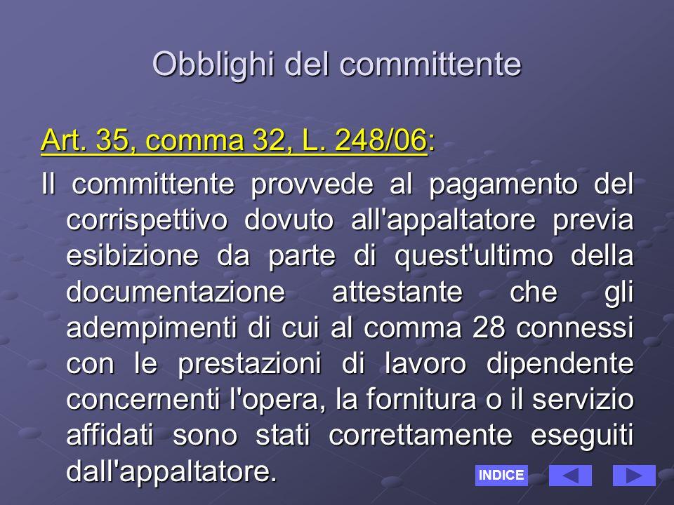 Responsabilità del committente Art.35, comma 33, L.