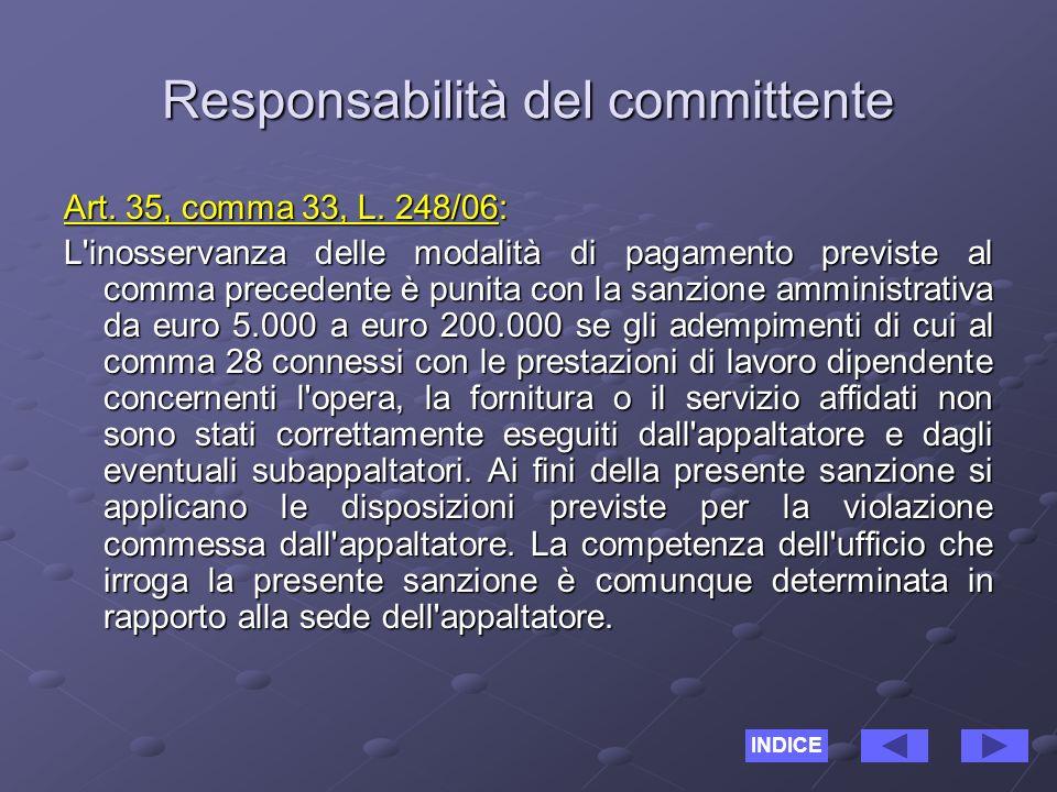 Responsabilità del committente Art. 35, comma 33, L.