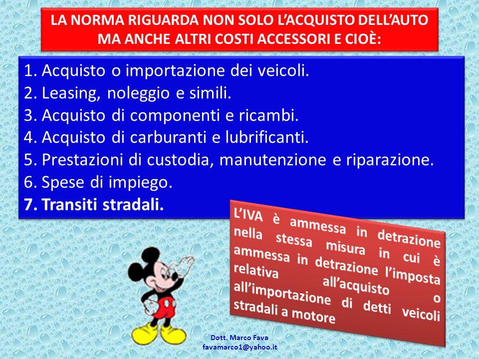 Dott. Marco Fava favamarco1@yahoo.it 1.Acquisto o importazione dei veicoli.