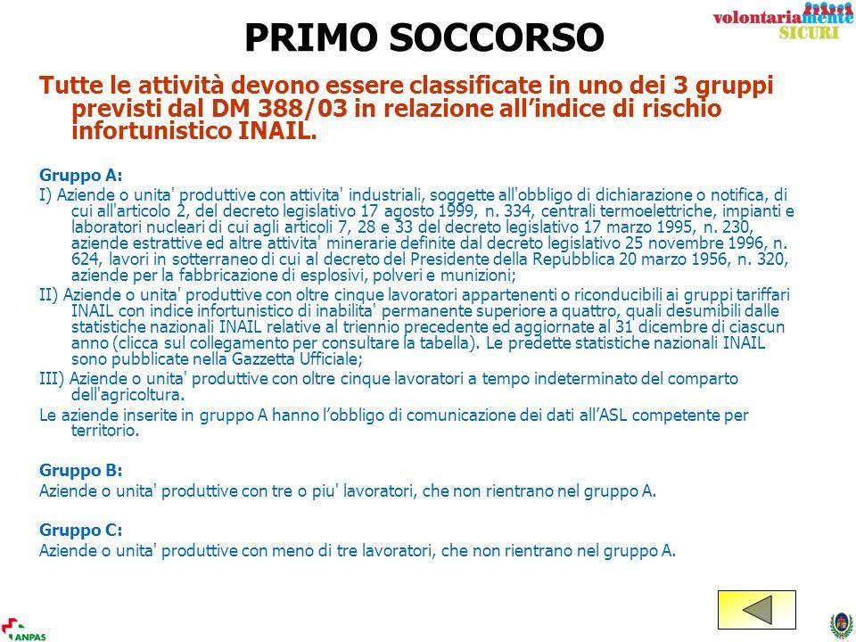 PRIMO SOCCORSO Tutte le attività devono essere classificate in uno dei 3 gruppi previsti dal DM 388/03 in relazione allindice di rischio infortunistic