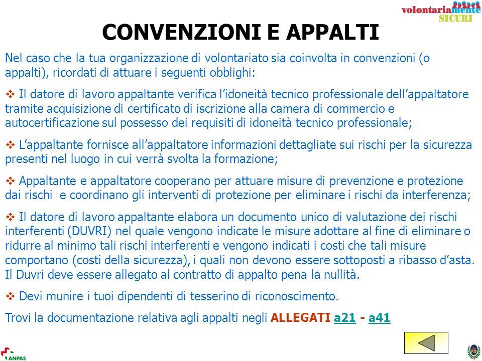 CONVENZIONI E APPALTI Nel caso che la tua organizzazione di volontariato sia coinvolta in convenzioni (o appalti), ricordati di attuare i seguenti obb