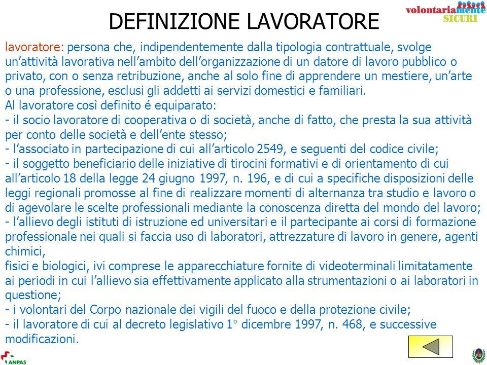 DEFINIZIONE LAVORATORE lavoratore: persona che, indipendentemente dalla tipologia contrattuale, svolge unattività lavorativa nellambito dellorganizzaz