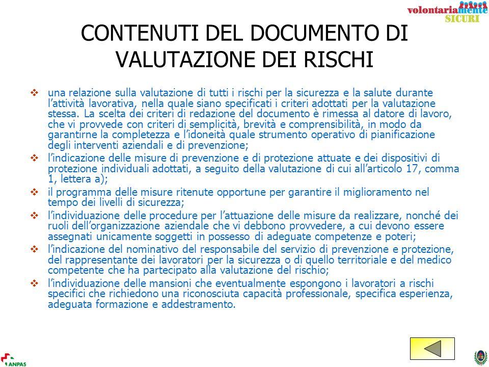 CONTENUTI DEL DOCUMENTO DI VALUTAZIONE DEI RISCHI una relazione sulla valutazione di tutti i rischi per la sicurezza e la salute durante lattività lav