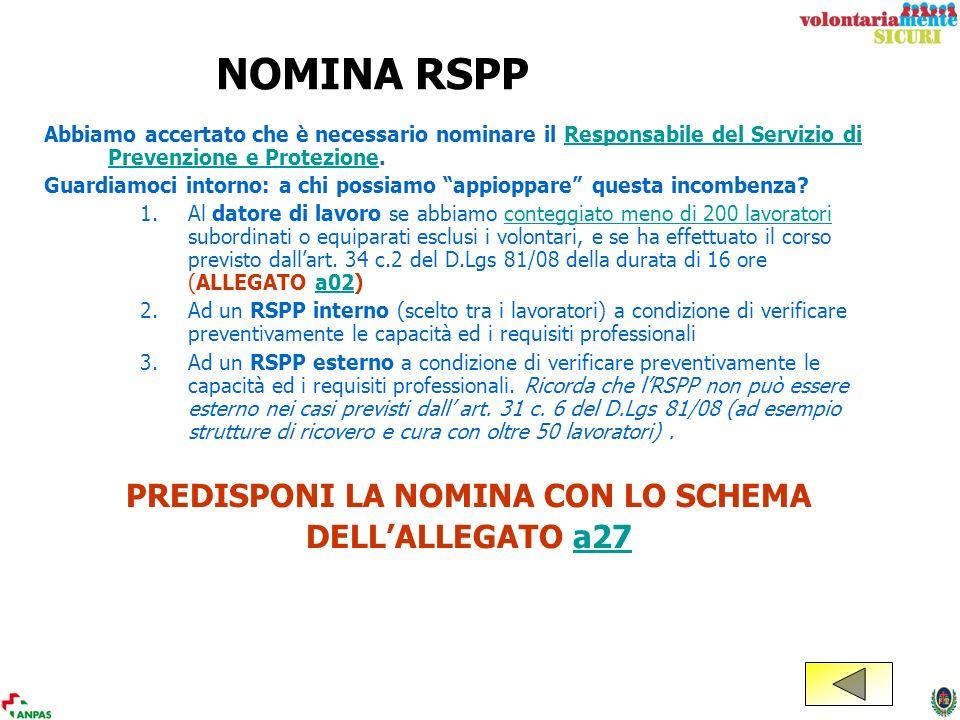 NOMINA RSPP Abbiamo accertato che è necessario nominare il Responsabile del Servizio di Prevenzione e Protezione.Responsabile del Servizio di Prevenzi