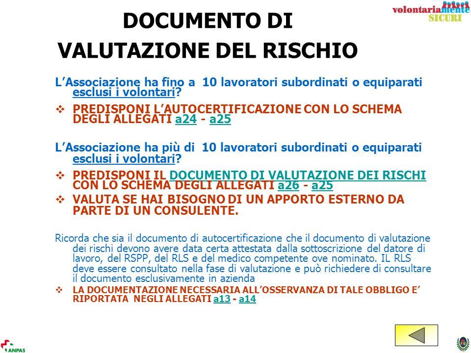DOCUMENTO DI VALUTAZIONE DEL RISCHIO LAssociazione ha fino a 10 lavoratori subordinati o equiparati esclusi i volontari? PREDISPONI LAUTOCERTIFICAZION