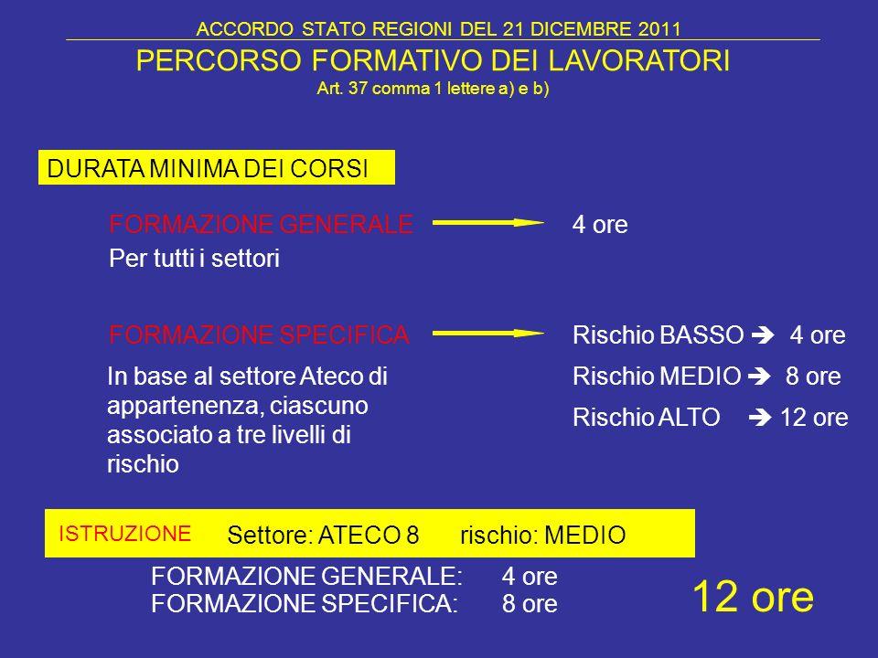 ACCORDO STATO REGIONI DEL 21 DICEMBRE 2011 FORMAZIONE GENERALE DURATA MINIMA DEI CORSI ISTRUZIONE PERCORSO FORMATIVO DEI LAVORATORI Art. 37 comma 1 le