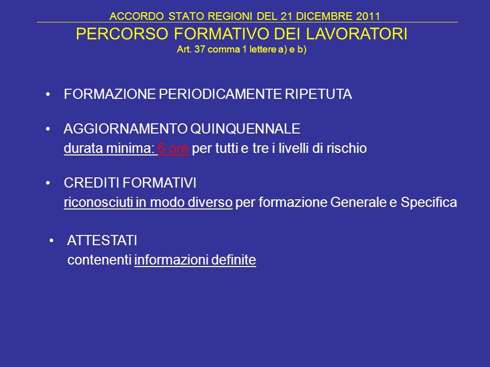 ACCORDO STATO REGIONI DEL 21 DICEMBRE 2011 PERCORSO FORMATIVO DEI LAVORATORI Art. 37 comma 1 lettere a) e b) FORMAZIONE PERIODICAMENTE RIPETUTA AGGIOR