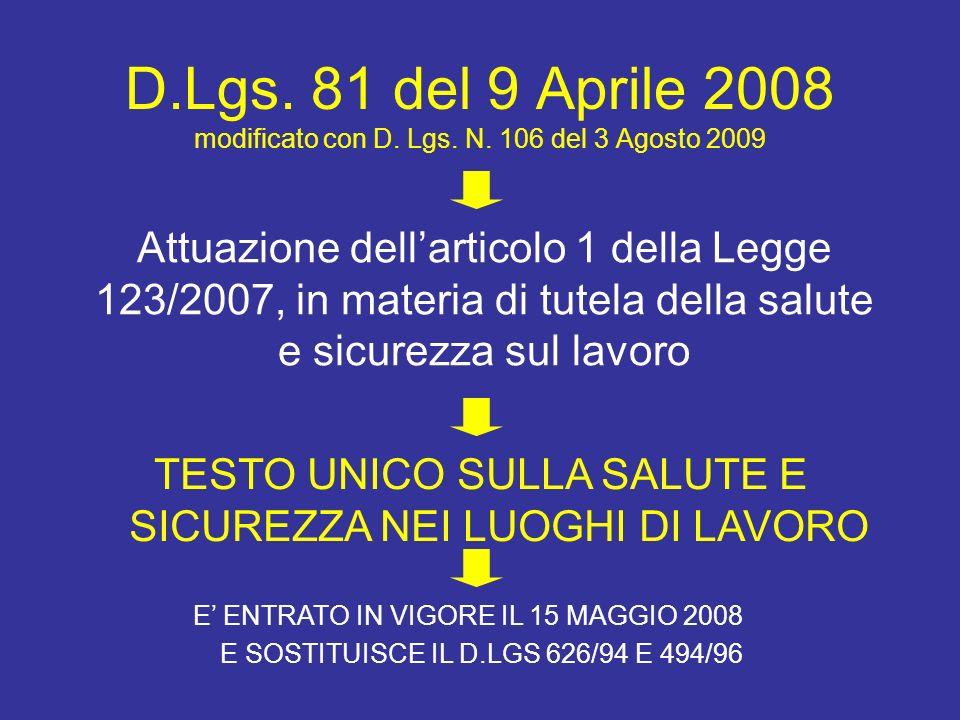 D.Lgs. 81 del 9 Aprile 2008 modificato con D. Lgs. N. 106 del 3 Agosto 2009 Attuazione dellarticolo 1 della Legge 123/2007, in materia di tutela della