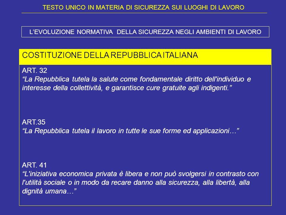 TESTO UNICO IN MATERIA DI SICUREZZA SUI LUOGHI DI LAVORO COSTITUZIONE DELLA REPUBBLICA ITALIANA ART. 32 La Repubblica tutela la salute come fondamenta