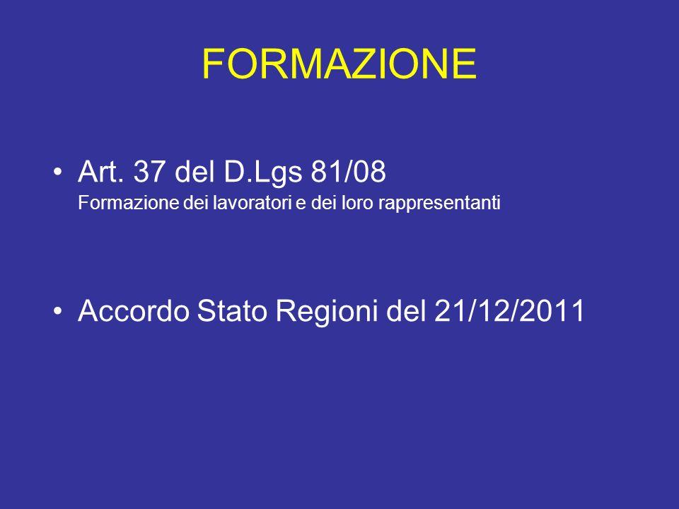 FORMAZIONE Art. 37 del D.Lgs 81/08 Formazione dei lavoratori e dei loro rappresentanti Accordo Stato Regioni del 21/12/2011