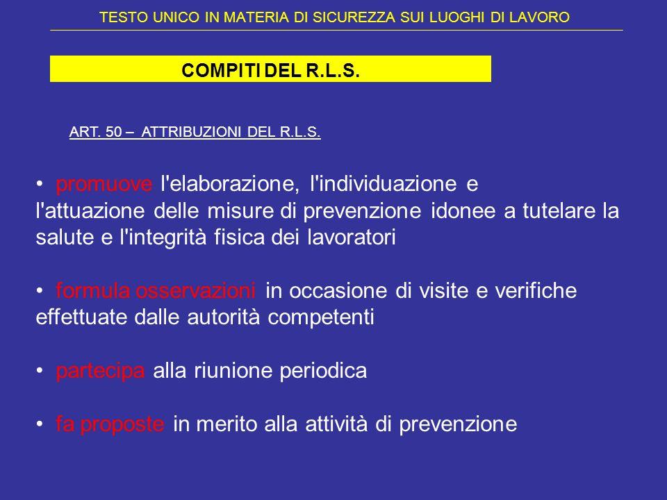 TESTO UNICO IN MATERIA DI SICUREZZA SUI LUOGHI DI LAVORO COMPITI DEL R.L.S. ART. 50 – ATTRIBUZIONI DEL R.L.S. promuove l'elaborazione, l'individuazion