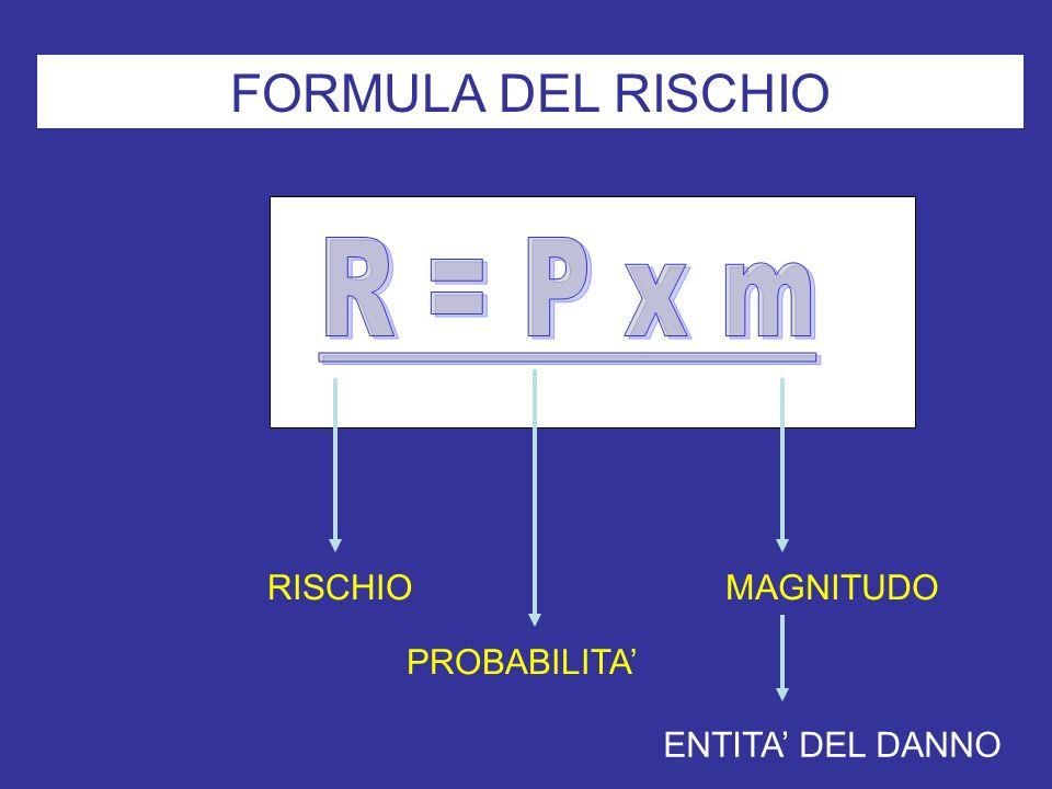 FORMULA DEL RISCHIO RISCHIO PROBABILITA MAGNITUDO ENTITA DEL DANNO