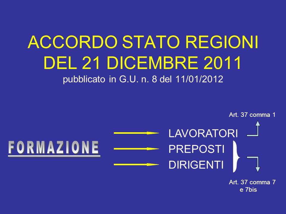ACCORDO STATO REGIONI DEL 21 DICEMBRE 2011 pubblicato in G.U. n. 8 del 11/01/2012 LAVORATORI PREPOSTI DIRIGENTI Art. 37 comma 1 Art. 37 comma 7 e 7bis
