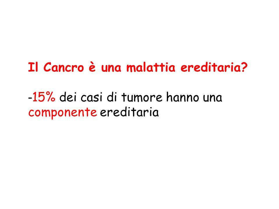 Il Cancro è una malattia ereditaria? - 15% dei casi di tumore hanno una componente ereditaria