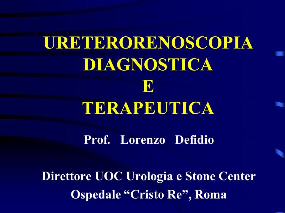 URETERORENOSCOPIA DIAGNOSTICA E TERAPEUTICA Prof. Lorenzo Defidio Direttore UOC Urologia e Stone Center Ospedale Cristo Re, Roma