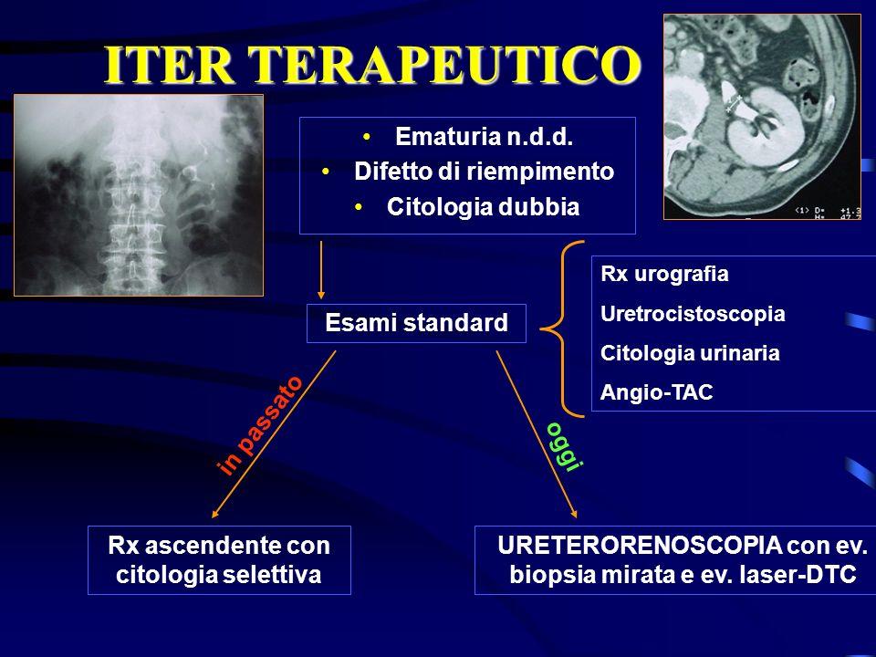 ITER TERAPEUTICO Ematuria n.d.d. Difetto di riempimento Citologia dubbia Esami standard Rx urografia Uretrocistoscopia Citologia urinaria Angio-TAC Rx
