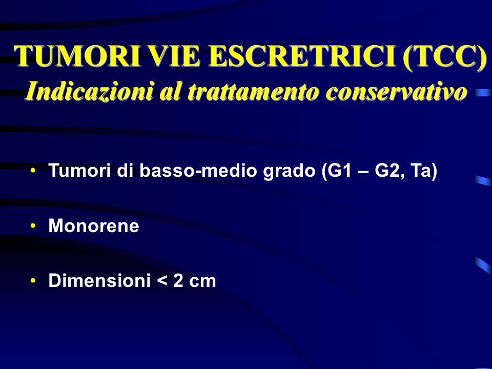 TUMORI VIE ESCRETRICI (TCC) TUMORI VIE ESCRETRICI (TCC) Indicazioni al trattamento conservativo Tumori di basso-medio grado (G1 – G2, Ta) Monorene Dim