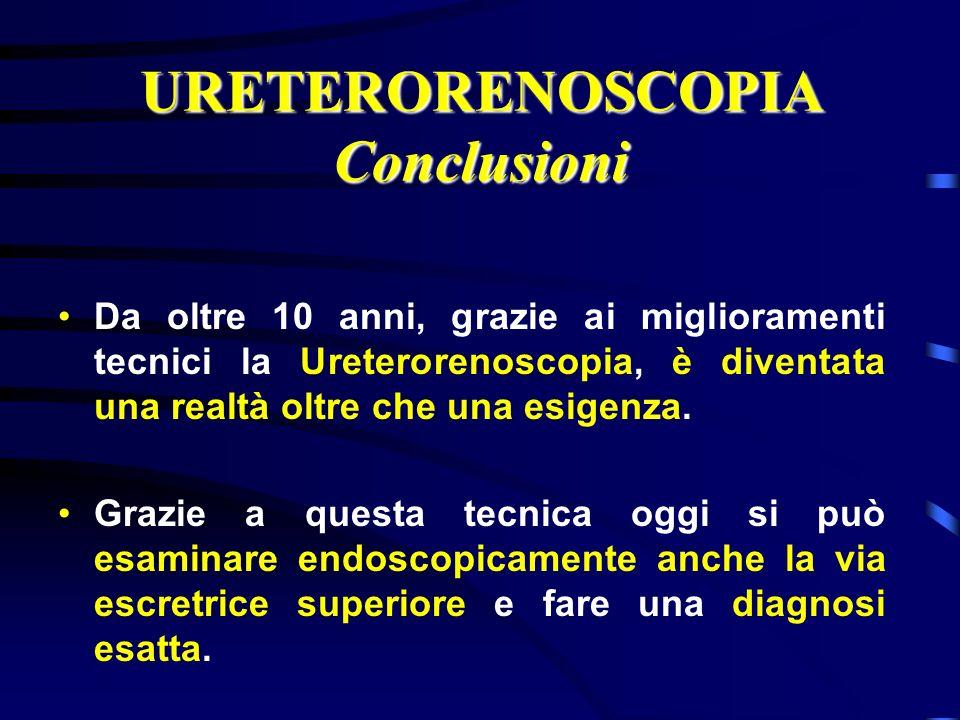 URETERORENOSCOPIA Conclusioni Da oltre 10 anni, grazie ai miglioramenti tecnici la Ureterorenoscopia, è diventata una realtà oltre che una esigenza. G