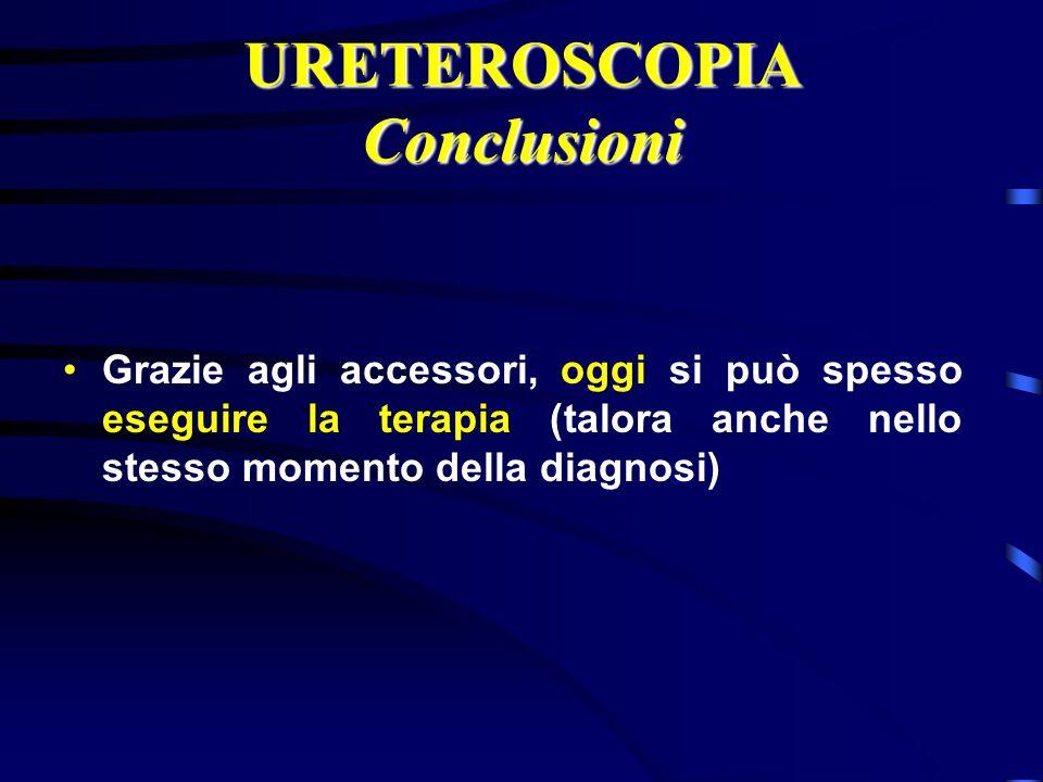 URETEROSCOPIA Conclusioni Grazie agli accessori, oggi si può spesso eseguire la terapia (talora anche nello stesso momento della diagnosi)