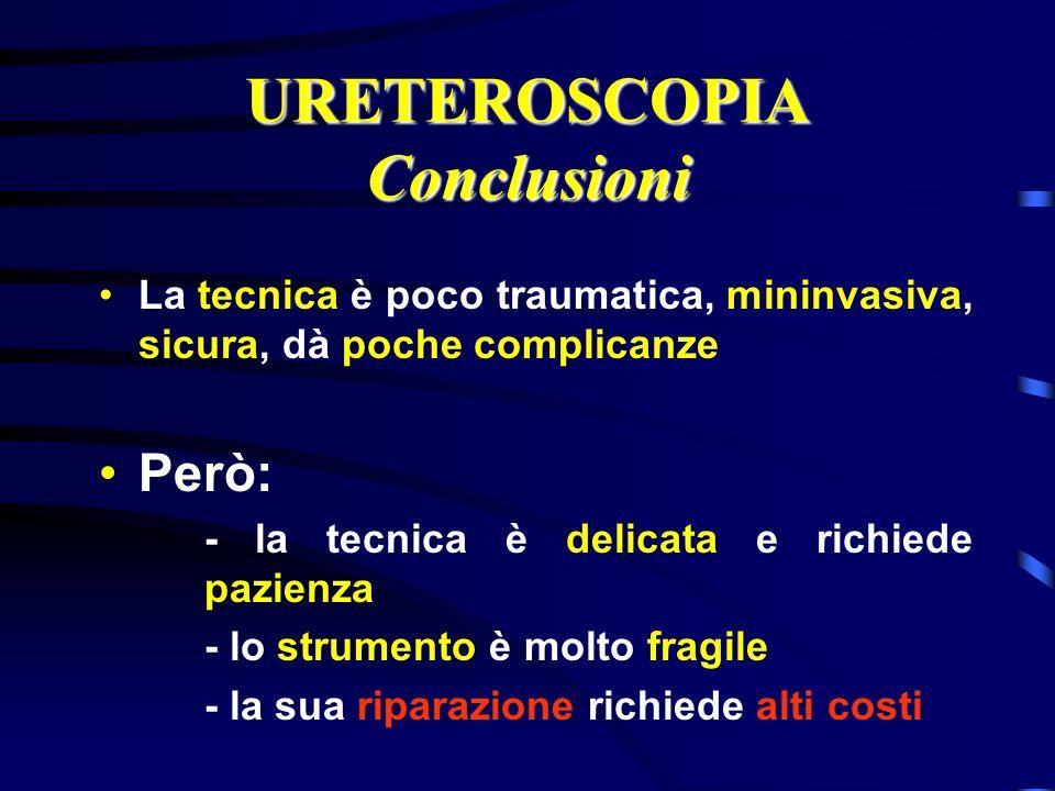 URETEROSCOPIA Conclusioni La tecnica è poco traumatica, mininvasiva, sicura, dà poche complicanze Però: - la tecnica è delicata e richiede pazienza -