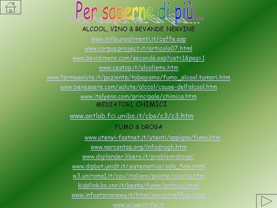 ALCOOL, VINO & BEVANDE NERVINE www.milleunoalimenti.it/caffe.asp www.corpus.project.it/articolo07.html www.bevidimeno.com/seconda.asp?cat=1&pag=1 www.